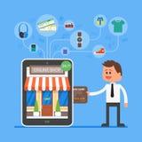 Concepto móvil en línea de las compras Ejemplo del vector en diseño plano del estilo Pago en Internet Imágenes de archivo libres de regalías