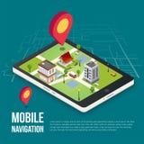 concepto móvil isométrico de la navegación GPS 3d Fotos de archivo