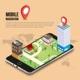 concepto móvil isométrico de la navegación GPS 3d Fotografía de archivo libre de regalías