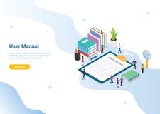 Concepto manual del libro del usuario con la gente y una cierta guía en el tablero para el diseño u homepage de aterrizaje - vect stock de ilustración