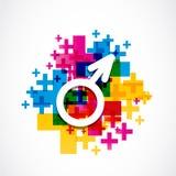 Concepto masculino colorido de la muestra del género Fotos de archivo