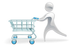 Concepto metálico de la carretilla del carro de compras del carácter Imagen de archivo
