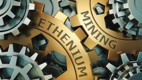 Concepto minero de Ethereum ETH Oro y ejemplo de plata del fondo del weel del engranaje 3d rinden libre illustration