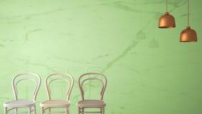 Concepto minimalista del diseñador del arquitecto con tres sillas de madera clásicas y lámparas pendientes en el fondo de mármol  Fotografía de archivo