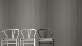 Concepto minimalista del diseñador del arquitecto con tres sillas de madera y en colores pastel clásicas en el fondo rayado gris  stock de ilustración