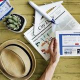 Concepto modelo plano de Tablet Travel Holiday Imágenes de archivo libres de regalías