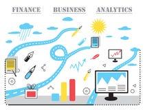 Concepto moderno, analistas y finanzas del negocio Imagen de archivo
