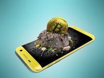 Concepto moderno de explotación minera del bitcoin con una perspectiva amarilla 3d con referencia a imagenes de archivo