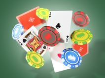 concepto moderno de ingenio descendente de los microprocesadores y de los aces del casino de los juegos del casino Imágenes de archivo libres de regalías