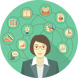 Concepto moderno de la mujer de negocios stock de ilustración