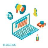 Concepto moderno del diseño isométrico de blogging Fotografía de archivo