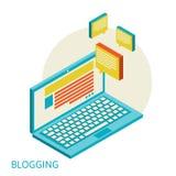 Concepto moderno del diseño isométrico de blogging Imagen de archivo