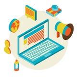 Concepto moderno del diseño isométrico de blogging Foto de archivo libre de regalías