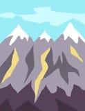 Concepto moderno del ejemplo del diseño plano con los picos y el alivio de montaña Imágenes de archivo libres de regalías