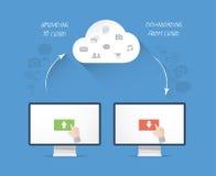 Concepto moderno del ejemplo del negocio del almacenamiento de la nube Imágenes de archivo libres de regalías