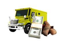 Concepto moderno del transporte del dinero y pila de dolars en el banco y stock de ilustración