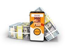 Concepto moderno para tomar préstamo a través del banco en un accesorio en la multitud libre illustration