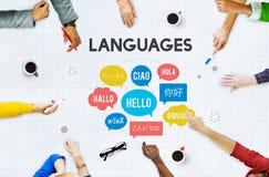 Concepto multilingüe de las idiomas de los saludos fotos de archivo libres de regalías