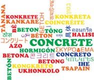 Concepto multilingue concreto del fondo del wordcloud Fotografía de archivo libre de regalías