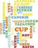 Concepto multilingue del fondo del wordcloud de la taza Imagen de archivo libre de regalías