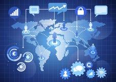 Concepto mundial de la comunicación de la red stock de ilustración