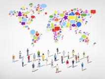 Concepto mundial de la conexión de la medios comunidad social foto de archivo