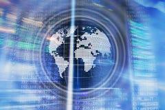 Concepto mundial del negocio de la comunicaci?n global del globo del holograma de la tierra del planeta ilustración del vector