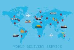 Concepto mundial global del mapa del mundo de la entrega logística, del envío y del servicio Foto de archivo libre de regalías