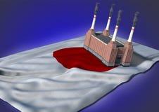 Concepto nacional de la industria pesada - tema japonés ilustración del vector