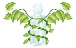 Concepto natural de la botella del caduceo ilustración del vector