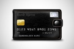Concepto negro de la tarjeta de crédito bancaria de la cartera Imagenes de archivo