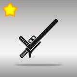 Concepto negro del símbolo del logotipo del bastón de la policía o del botón del icono de la porra de alta calidad ilustración del vector