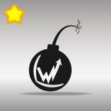 Concepto negro del símbolo del logotipo del botón del icono de la bomba de alta calidad Foto de archivo