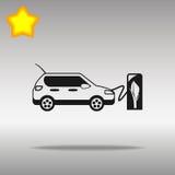 Concepto negro del símbolo del logotipo del botón del icono de la estación de carga del vehículo eléctrico de alta calidad Imagenes de archivo