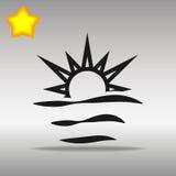 Concepto negro del símbolo del logotipo del botón del icono de la salida del sol de alta calidad Fotos de archivo libres de regalías