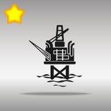 Concepto negro del símbolo del logotipo del botón del icono de la silueta del aparejo de la perforación petrolífera de alta calid Foto de archivo