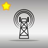 Concepto negro del símbolo del logotipo del botón del icono de la torre del teléfono celular de alta calidad Fotos de archivo