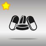 Concepto negro del símbolo del logotipo del botón del icono de las píldoras de alta calidad Fotografía de archivo libre de regalías