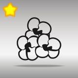 Concepto negro del símbolo del logotipo del botón del icono de las palomitas de alta calidad Imagenes de archivo