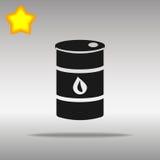 Concepto negro del símbolo del logotipo del botón del icono del barril de aceite de alta calidad Imagen de archivo