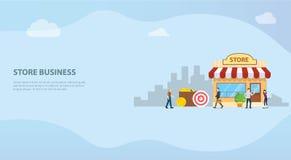Concepto off-line abierto del edificio del negocio de la tienda o de la tienda para la plantilla u homepage del aterrizaje de la  ilustración del vector