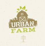 Concepto orgánico de Eco de la granja urbana de la ciudad Elemento sano del diseño del vector de la comida en fondo del papel del Imagenes de archivo