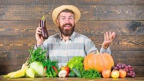 Concepto org?nico de la horticultura Crezca las cosechas org?nicas Alimento biol?gico de cosecha propia Hombre con el fondo de ma imagenes de archivo
