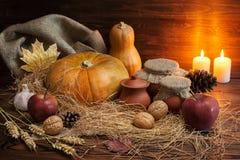 Concepto oscuro con las calabazas, manzana roja, garli de la acción de gracias del otoño Fotos de archivo libres de regalías