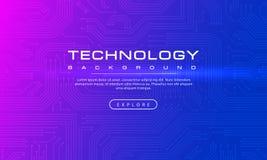 Concepto púrpura azul del fondo de la bandera abstracta de la tecnología con la línea tecnología de los efectos, textura azul del libre illustration
