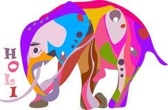 Concepto para el día de fiesta feliz de Holi de una genuflexión adornada del elefante Imágenes de archivo libres de regalías