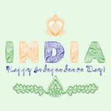 Concepto para el día de independencia de la India de los elementos del diseño del mehndi en colores tricolores ilustración del vector