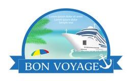 """Concepto para hacer publicidad de viaje en el barco de cruceros con """"Bon Voy Fotos de archivo libres de regalías"""
