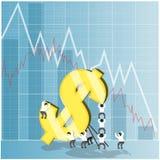 Concepto para la acción de la economía y el mercado de moneda Imágenes de archivo libres de regalías
