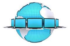 Concepto para la conexión de la red de ordenadores alrededor del mundo ilustración del vector